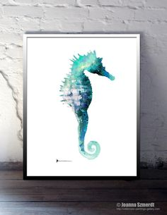 Sea Horse Watercolor Print Seascape Turquoise by Silhouetown