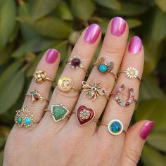 Conversion rings always put a smile on my face. A perfect remedy for a less-than-stellar day. in 2019 Antique Rings, Antique Jewelry, Gold Jewelry, Vintage Jewelry, Jewelry Accessories, Ring Bracelet, Ring Earrings, Diamond Earrings, Bracelets