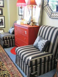 Slipper Chair, black and grey stripe, $165.00 each. We have two available. - Consign It! Consignment Furniture