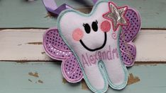 Personalized Tooth Fairy Pillow with a Wand~Girls Tooth Fairy Pillow~Tooth Pillow~Gift~Stocking Stuffer~Purple~Sparkly