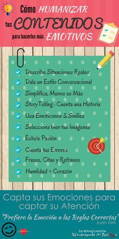10 claves para humanizar tus contenidos y hacerlos mas empáticos, junto a una buena #infografía de Ana Guerra. #ContentMarketing