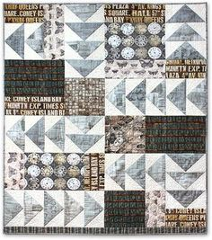 Follow the instructions or use the photo as a guide to make this flying geese and 'chunks' quilt.