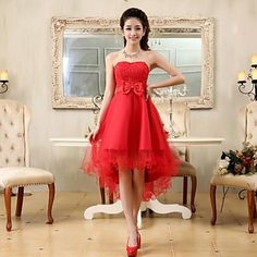 Cocktail Party/Homecoming/Prom/Holiday Dress A-line/Princess Strapless Asymmetrical Chiffon/Lace Dress – USD $ 29.99