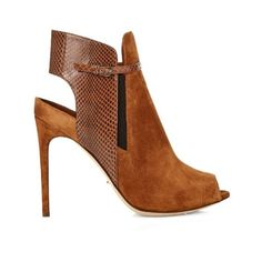2ae6c51c913b93 Sergio Rossi Peep-toe suede and snakeskin ankle-boots 570 AUD) ❤ liked on…