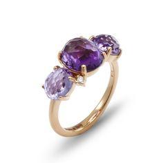 anello in oro rosa 18 kt con brillanti, ametista, rose france