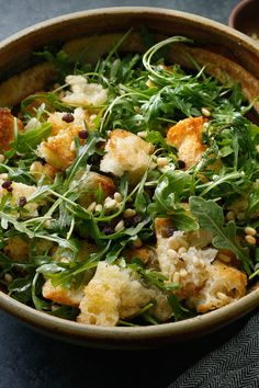 This is, quite possibly, the bread salad to end all bread salads Judy Rodgers, the legendary chef and bread lover, developed it to serve alongside roast chicken, but it's perfect paired with any roast meat Bread chunks are mixed with a sharp vinaigrette, softened currants, toasted pine nuts and lightly cooked scallions and garlic