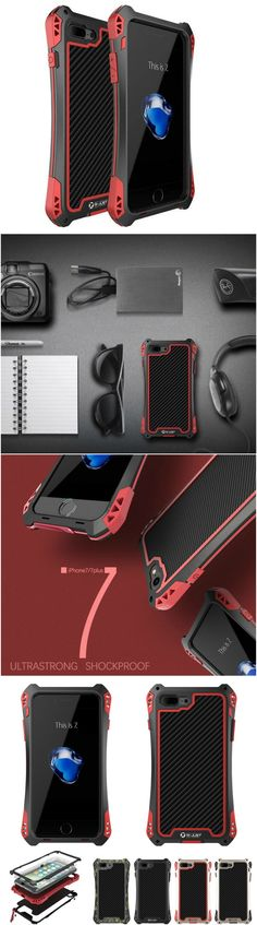 New Amira Outdoor Shockproof TPU Metal Carbon Fiber Tempered Glass Case Cover for iPhone 7 & 7 Plus