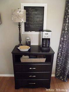home coffee bar. great idea in guest bedroom.