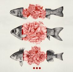 animal fish art illustration flower floral drawing To Bloom Not Bleed (Limited Time Only) Art Print Art And Illustration, Wallpaper Bonitos, Arte Sketchbook, Fish Art, Framed Art Prints, Wall Prints, Canvas Prints, Art Inspo, Art Reference