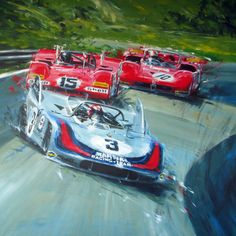 Painting of Vic Elford in his Porsche 908/3 fighting against Jacky Ickx and Rolf Stommelen – artist unknown