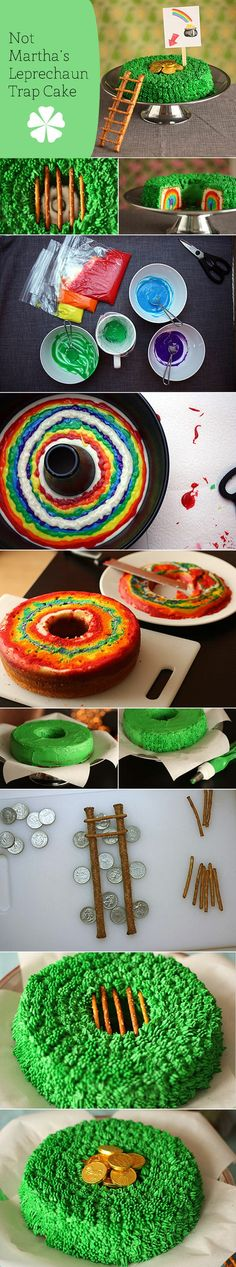 St. Patrick's Day: Rainbow Leprechaun Trap Cake