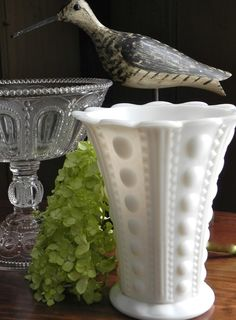 Vintage Hobnail Milk Glass Large Flower by CountryHomeCityHome, $28.00
