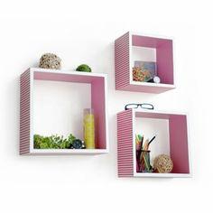 Trista - [Sweet Dream] Square Leather Wall Shelf / Bookshelf / Floating Shelf (Set of 3)