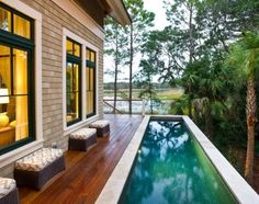 HGTV Dream Home 2013. Back part of the deck with lap pool.  I would love to have this at our house at the Bay.