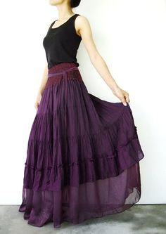 NO.36 Purple Cotton Tiered Peasant Skirt Long Maxi by JoozieCotton