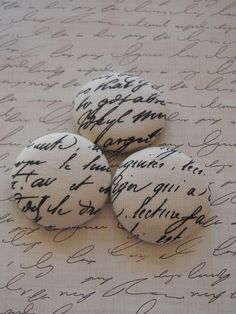 English Script - fabric covered button collection - size 60 by howbeadyful.etsy