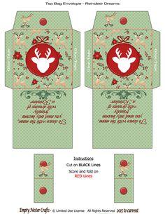 Printable Tea Bag Packet Envelope Reindeer Dreams Chritmas Holiday Digital Instant Download By EmptyNesterCrafts