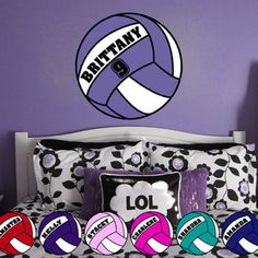 Girl Name Wall Decals Volleyball Wall Name Decal Girl Baby - Vinyl volleyball wall decals