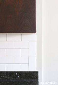 White liner backsplash beveled subway tile edge colonial white