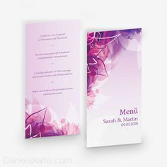 Menükarte Pinke Versuchung 10 x 21 cm - Dankeskarte.com Save The Date, Pink, Wedding Inspiration, Cover, Thanks Card, Invitation Cards, Invitations, Wedding Invitation, Pink Hair