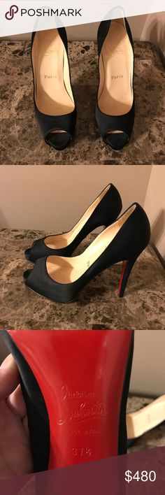 Christian Louboutin peeptoe Satin Very Prive pumps Perfect condition authentic Christian Louboutin Satin Very Prive pumps. Will take best offer Christian Louboutin Shoes Heels