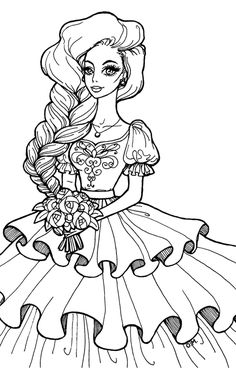 Wedding princess by OlgaMaletina on DeviantArt Barbie Coloring Pages, Summer Coloring Pages, Fairy Coloring Pages, Free Adult Coloring Pages, Printable Coloring Pages, Coloring Books, Abstract Coloring Pages, Woman Drawing, Disney Drawings