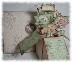 Petite Petals Card in a Box - Tina Weller, I am thoroughly enjoying making these 'Card in a Box' projects and this one features the new Petite Petals Stamp Set and Punch. This was a very special card, for a lovely friend who just turned 60. Details can be found on my blog post today: http://www.serenestamper.com/2014/01/petite-petals-card-in-box.html