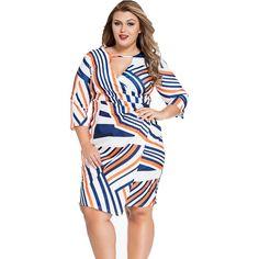 Multi Stripe Wrap Plus Size Dress