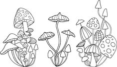 drawings mushroom outline mushrooms drawing hippie simple flower painting tattoo tattoos background creativemarket zentangle flash patterns