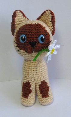 Guv the Kitten  pdf crochet toy pattern  siamese cat