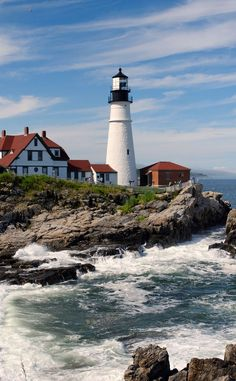 Portland Head Lighthouse (1791), Cape Elizabeth, Maine - The oldest lighthouse in the state of Maine. Construction began in 1787 at the directive of George Washington. Today the light station is automated & the tower, beacon and foghorn are maintained by the United States Coast Guard.