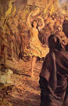 Claude Frollo watches La Esmeralda dance.