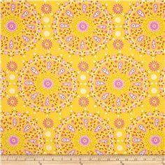 Dena Designs Home Décor Sunshine Circle Medallion Linen Blend Yell