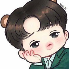 Kpop Drawings, Cute Drawings, Exo Kai, Baekhyun, Kaisoo, Namjin, Jikook, Exo Cartoon, Kai Arts