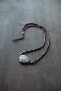 Mixed Media Boho Necklace / Purple - Golden Orange - Brown Necklace / Gemstone Necklace / Purple Brown Nekclace / Jasper Necklace
