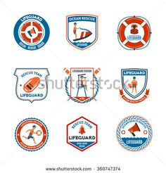 Beach lifeguard patrol emblems set with ocean rescue symbols flat isolated vector illustration