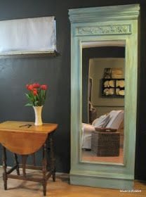 Use an inexpensive mirror from Walmart or Target. Attach to a piece of painted plywood, then add either crown molding and/or any other type of wooden accents - blue roof cabin: Trumeau Mirror or whatever you wanna call it