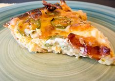 """""""Jalapeño Popper Quiche - This was insanely good. I made an almond four crust and used full fat cream cheese. I forgot to buy bacon but I bet that would have made it even better! What's For Breakfast, Low Carb Breakfast, Breakfast Recipes, Breakfast Casserole, I Love Food, Good Food, Yummy Food, Healthy Food, Delicious Meals"""