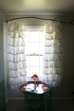 Ruffle Curtains and Branch Rod