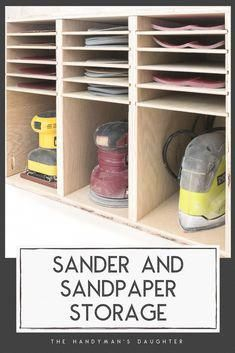 shop organization Keep all your sanders and sandpaper organized with this compact sander and sandpaper storage! See what grits are running low at a glance, so you never run out of sandpaper again! Get the at The Handymans Daughter! Woodworking Workshop, Easy Woodworking Projects, Popular Woodworking, Woodworking Furniture, Diy Wood Projects, Woodworking Shop, Diy Furniture, Woodworking Plans, Furniture Plans