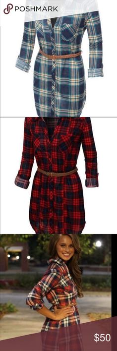 ❄️Lightweight Plaid Tunic❄️ ⚡️️FLASH SALE⚡️️  lightweight plaid button down tunics. I am in love with them! Let me know what color and size you need ‼️  Women's Lightweight Plaid Button Down Dress Shirt with Belt Lightweight, soft material for all-day comfort. Full button down closure / Removable faux leather belt 2 Chest pockets / Tabs to hold rolled up sleeve. Tops Tunics