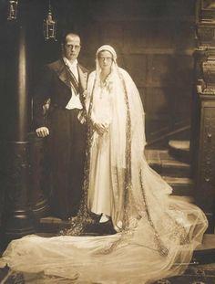 "Wedding image of Princess Ileana of Romania with the ""penniless"" archduke Anton of Austria-Tuscany. Royal Wedding Gowns, Royal Weddings, Wedding Dresses, Wedding Images, Wedding Styles, Fernando Iii, Romanian Royal Family, Anton, Images Of Princess"