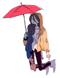 beautiful Marceline under red umbrella Character Art, Character Design, Character Inspiration, Cartoon Network, Princesse Chewing-gum, Marceline And Bubblegum, Jake The Dogs, Bubbline, Adventure Time Anime
