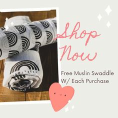 ⋒ Free Muslin Baby Swaddle W/ Each Purchase