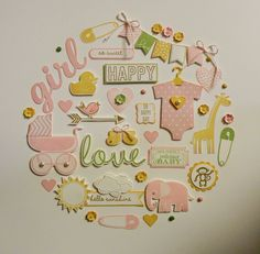 """Baby Girl Wall Hanging - Created by Sandy Mott - using primarily """"Something for Baby"""" stamp set and framelits bundle. Ideas Prácticas, Baby Frame, New Baby Cards, Baby Album, Frame Crafts, Welcome Baby, Baby Scrapbook, Baby Kind, Home And Deco"""
