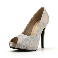 Champagne Lace Wedding Heel. Champagne Bridal Shoe. Satin Wedding Heel with Lace.. $80.00, via Etsy.