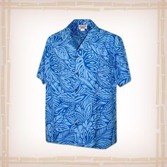 """FREE SHIPPING – EVERY ORDER, EVERY DAY! Hawaiian Shirt """"Leaf Me Alone"""" By Pacific Legend – Blue  Coconut shell buttons and matching print engineered chest pocket. This Pacific Legend Hawaiian Shirt Garment is 100% Cotton and MADE IN HAWAII. http://hawaiianshirtdude.com/product/hawaiian-shirt-leaf-alone-pacific-legend-blue/"""