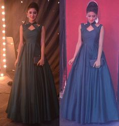 Gown Type : Stitched Gown Color : Blue Gown Fabric : Taffeta Silk Gown Size : Free up to 42 Gown Length : Gown Flair : 3 Mtr Gown Work : Plain * Wash Care: First Wash Dry Clean * Delivery Time: Same Day Dispatch * Quality: Good Quality Indian Wedding Gowns, Indian Gowns Dresses, Indian Outfits, Pakistani Dresses, Prom Dresses, Mehndi, Henna, Western Gown, Western Dresses
