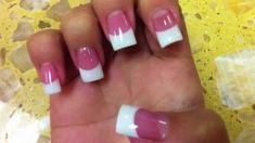french nails with rhinestones Acrylics Fan Nails, Love Nails, Pretty Nails, White Tip Acrylic Nails, Pink White Nails, French Tip Nail Designs, French Tip Nails, Pink French Manicure, French Manicures
