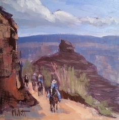 Grand Canyon Mule Train Southwest Landscape Studio Sale All Artwork Original art painting by Heidi Malott - DailyPainters.com